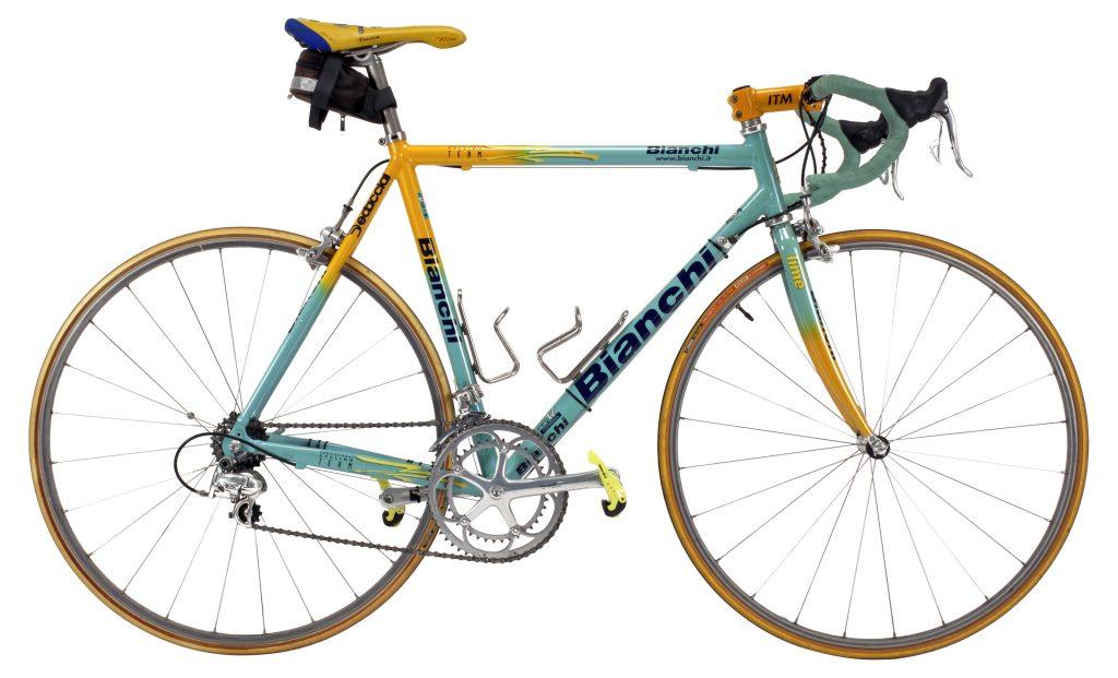 Bianchi Mega Pro XL Reparto Corsa, réplica de la bicicleta con la que Marco Pantani Ganó el Tour de Francia